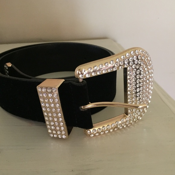 ZARA belt, black with bling buckle